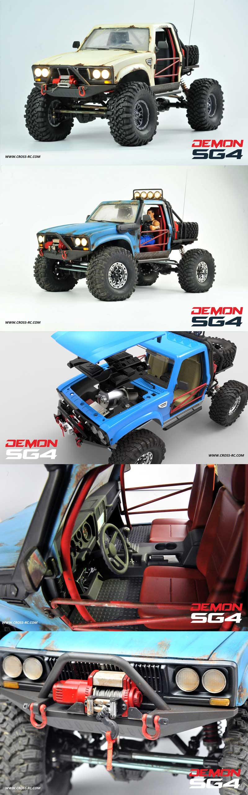 SG4C Demon 4x4 Crawler Kit, w/ Hard Body and CNC Gears, 1/10 Scale