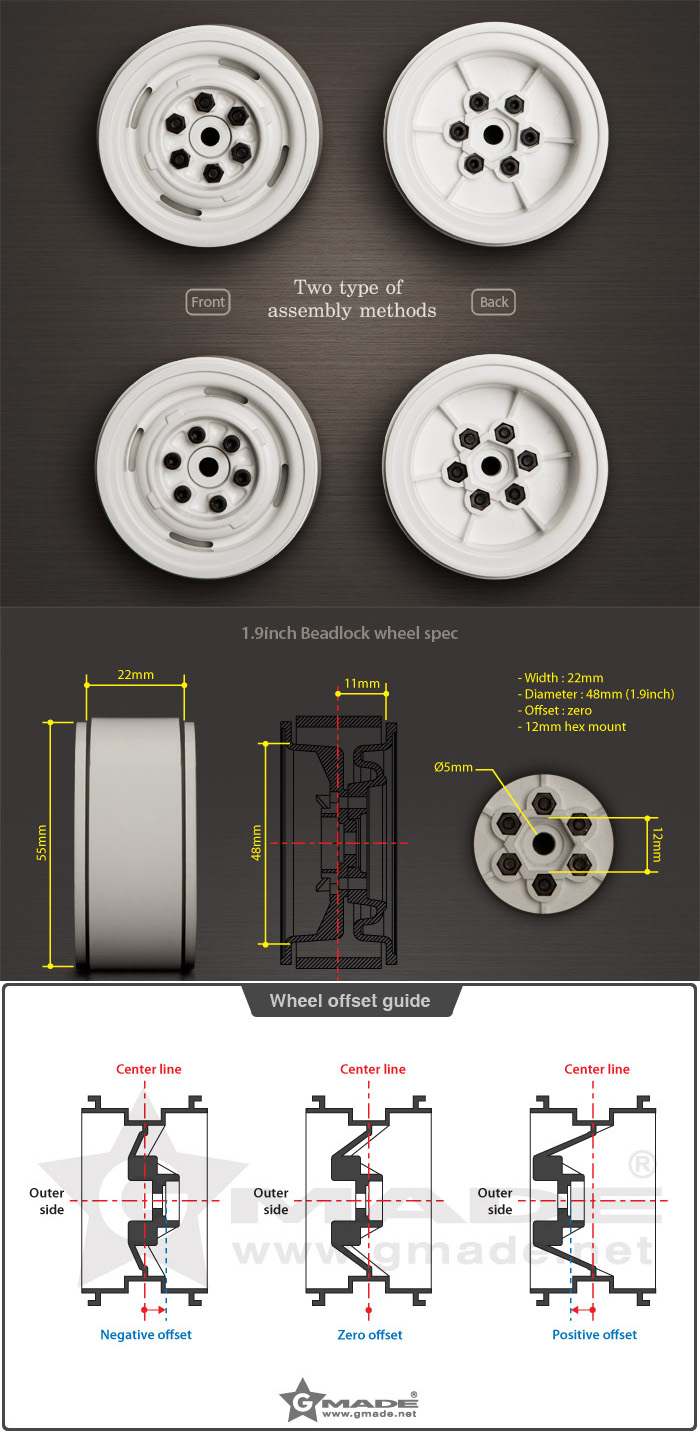 "1.9"" VR01 Beadlocks Wheels (2)"