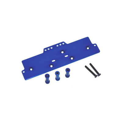 STRC Machined Alum. Adjustable 4 link front servo/battery mount (Blue) STA30486B