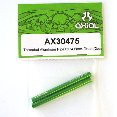 Axial Threaded Aluminum Pipe 6x74.5mm (Green) (2Pcs.) AX30475