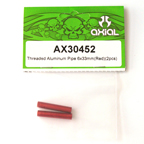 Axial Threaded Aluminum Pipe 6x33mm (Red)(2Pcs) ax30452