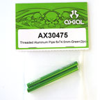 Axial Threaded Aluminum Pipe 6x74.5mm (Green) (2Pcs.) AX30475
