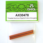 Axial Threaded Aluminum Pipe 6x74.5mm (Orange) (2Pcs.) AX30478