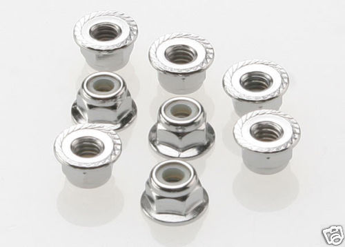 Traxxas 4mm locking Flanged Nuts (8) Wheel Nuts
