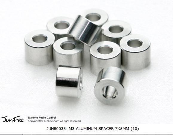 JUNFAC M3 ALUMINUM SPACER 7X5MM (10)