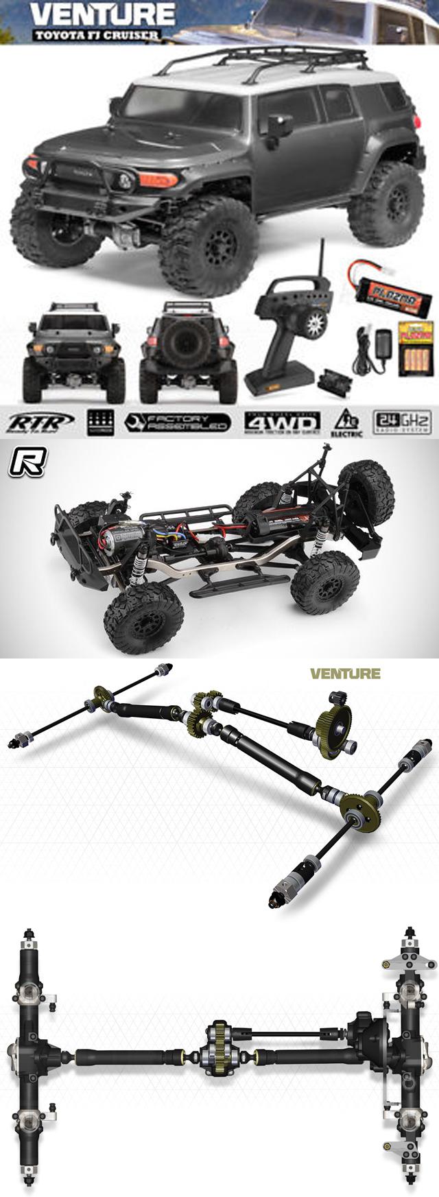 Venture Toyota FJ Cruiser RTR, 1/10 Scale, 4WD, Brushed, Gunmetal, w/ 2.4GHz Radio System GREY