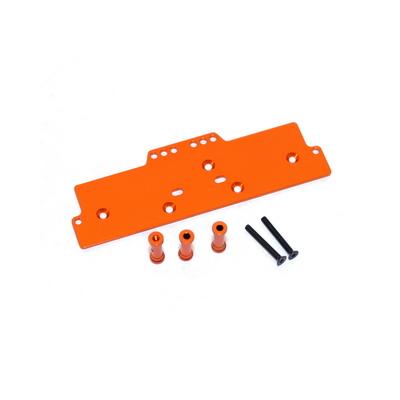 STRC Machined Alum. Adjustable 4 link front servo/battery mount (Orange) STA30486O
